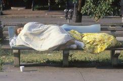 Femmes sans abri dormant sur le banc, Washington D C Images stock