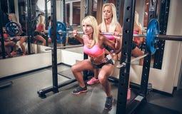 Femmes sexy dans le gymnase faisant la posture accroupie avec le barbell Image libre de droits