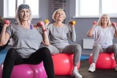 Femmes sportives agréables pratiquant le sport ensemble Photos stock