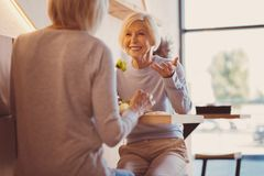 Femmes supérieures agréables causant et riant tout en mangeant  Photos libres de droits