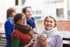 Femmes supérieures buvant du thé au balcon Photographie stock libre de droits