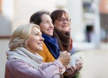 Femmes supérieures buvant du thé au balcon Image libre de droits