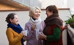 Femmes supérieures buvant du thé au balcon Image stock