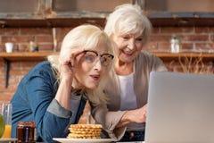 Femmes supérieures gaies à l'aide de l'ordinateur portable dans la chambre de cuisinier Images stock