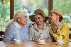 Femmes supérieures riant de la table Images stock