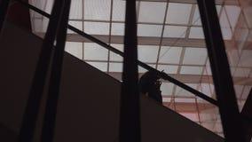 Femmes sur l'escalator dans le centre commercial banque de vidéos