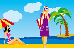 Femmes sur une plage illustration de vecteur