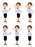 Femmes travaillant dans le bureau d'été, 6 gestes différents et le massage facial Images libres de droits