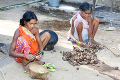 Femmes tribals indiens dans le village Images libres de droits