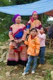 Femmes vietnamiennes du nord dans l'habillement indigène coloré avec des enfants Photographie stock libre de droits