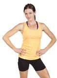 Femmina adatta sorridente pronta per un allenamento Immagini Stock