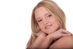 Femmina amichevole del ritratto giovane in studio fotografia stock