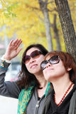 Femmina asiatica nel paesaggio di autunno Fotografia Stock Libera da Diritti