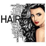 Femmina attraente del ritratto bello della donna con capelli lunghi sopra il vettore di spazio d'annata di Art Style Background W illustrazione vettoriale