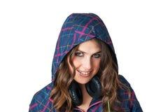 Femmina in attrezzatura di forma fisica con sorridere delle cuffie Immagine Stock Libera da Diritti