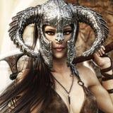 Femmina bella e micidiale del guerriero di fantasia che porta un costume barbaro tradizionale di stile royalty illustrazione gratis