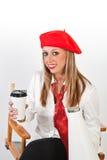 Femmina in berreto rosso Immagini Stock