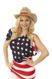 Femmina attraente in maglietta della bandiera americana Fotografia Stock