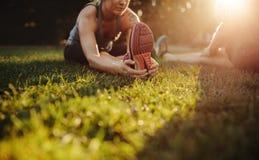 Femmina che fa allungando esercizio in parco Immagine Stock