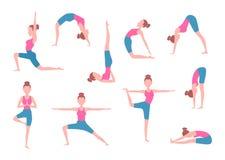 Femmina che fa gli esercizi di yoga nelle pose differenti illustrazione vettoriale