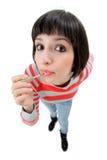 Femmina che mette sul trucco Fotografia Stock Libera da Diritti
