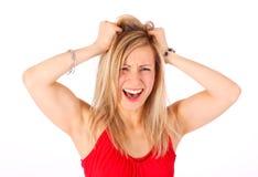 Femmina che strappa i suoi capelli Immagini Stock Libere da Diritti