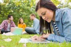Femmina che utilizza il PC della compressa mentre altri facendo uso del computer portatile nel parco Fotografie Stock Libere da Diritti
