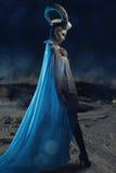 Femmina con body art della capra Immagine Stock Libera da Diritti