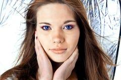 Femmina con gli occhi azzurri Fotografie Stock Libere da Diritti