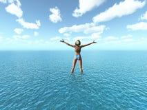 femmina 3D in mare tropicale illustrazione vettoriale