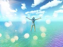 femmina 3D in mare tropicale con retro effetto illustrazione vettoriale