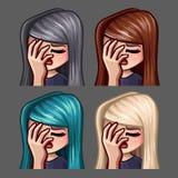 Femmina del facepalm delle icone di emozione con i capelli lunghi per le reti sociali e gli autoadesivi royalty illustrazione gratis