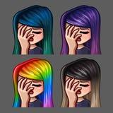 Femmina del facepalm delle icone di emozione con i capelli lunghi per le reti sociali e gli autoadesivi Immagini Stock Libere da Diritti