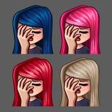 Femmina del facepalm delle icone di emozione con i capelli lunghi per le reti sociali e gli autoadesivi Fotografia Stock