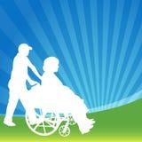 Femmina della sedia a rotelle Fotografie Stock Libere da Diritti
