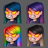 Femmina di collera delle icone di emozione con i capelli lunghi per le reti sociali e gli autoadesivi Immagine Stock