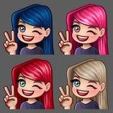 Femmina di sorriso delle icone di emozione ciao con i capelli lunghi per le reti sociali e gli autoadesivi Fotografie Stock