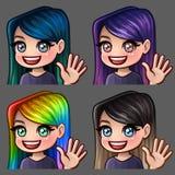 Femmina di sorriso delle icone di emozione ciao con i capelli lunghi per le reti sociali e gli autoadesivi Fotografia Stock Libera da Diritti