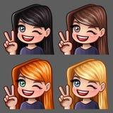 Femmina di sorriso delle icone di emozione ciao con i capelli lunghi per le reti sociali e gli autoadesivi illustrazione vettoriale