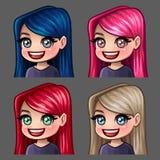 Femmina di sorriso delle icone di emozione con i capelli lunghi per le reti sociali e gli autoadesivi Immagini Stock Libere da Diritti