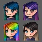 Femmina di sorriso delle icone di emozione con i capelli lunghi per le reti sociali e gli autoadesivi Immagine Stock