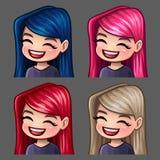 Femmina di sorriso delle icone di emozione con i capelli lunghi per le reti sociali e gli autoadesivi Immagine Stock Libera da Diritti