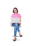 Femmina emozionante con il computer portatile Fotografia Stock Libera da Diritti
