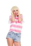 Femmina felice che grida alto fuori Fotografia Stock