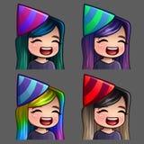 Femmina felice del partito delle icone di emozione con i capelli lunghi per le reti sociali e gli autoadesivi Fotografia Stock