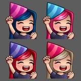 Femmina felice del partito delle icone di emozione con i capelli lunghi per le reti sociali e gli autoadesivi Fotografie Stock Libere da Diritti