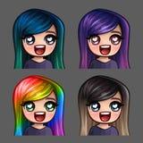 Femmina felice delle icone di emozione con i capelli lunghi per le reti sociali e gli autoadesivi Immagine Stock