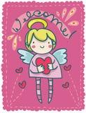 Femmina felice di angelo custode illustrazione di stock
