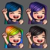 Femmina felice di sorriso delle icone di emozione con i capelli lunghi per le reti sociali e gli autoadesivi Fotografia Stock Libera da Diritti