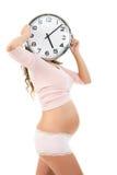 Femmina incinta con l'orologio Fotografia Stock Libera da Diritti